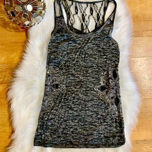 Miss Me Tank with Lace & Crystal Embellishments